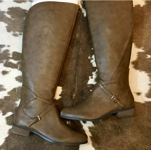 Very Volatile Tall Taupe Riding Boots Size 8.5